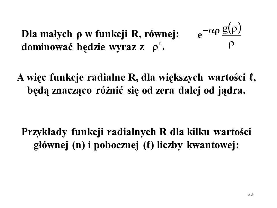Dla małych ρ w funkcji R, równej: dominować będzie wyraz z