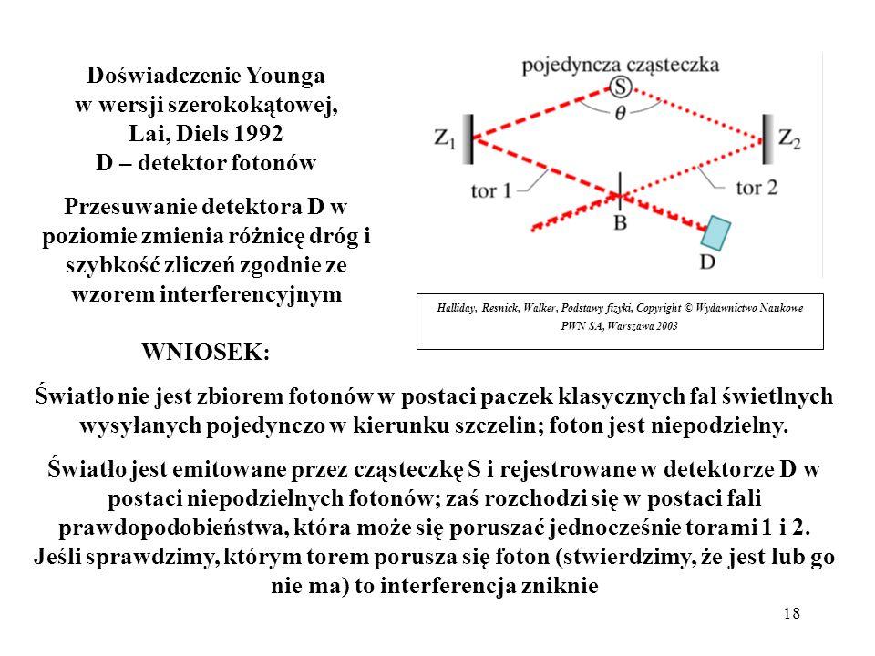 Doświadczenie Younga w wersji szerokokątowej, Lai, Diels 1992 D – detektor fotonów