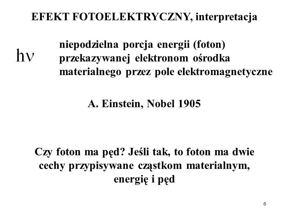 EFEKT FOTOELEKTRYCZNY, interpretacja