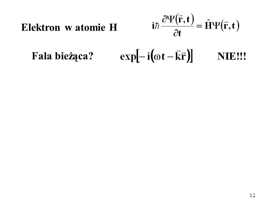 Elektron w atomie H Fala bieżąca NIE!!!