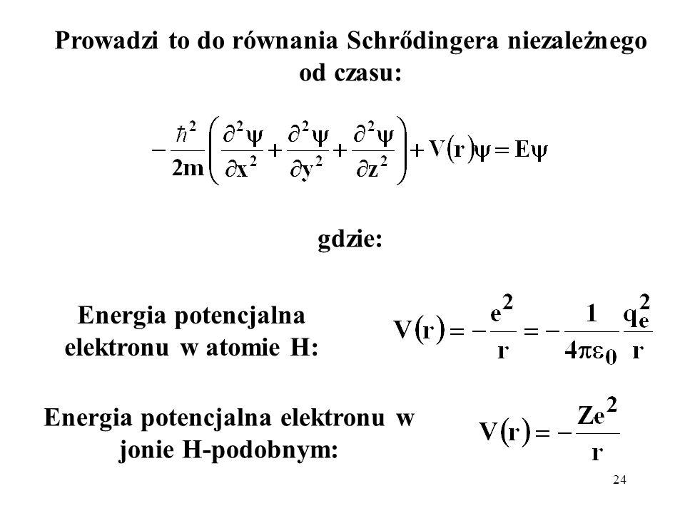 Prowadzi to do równania Schrődingera niezależnego od czasu: