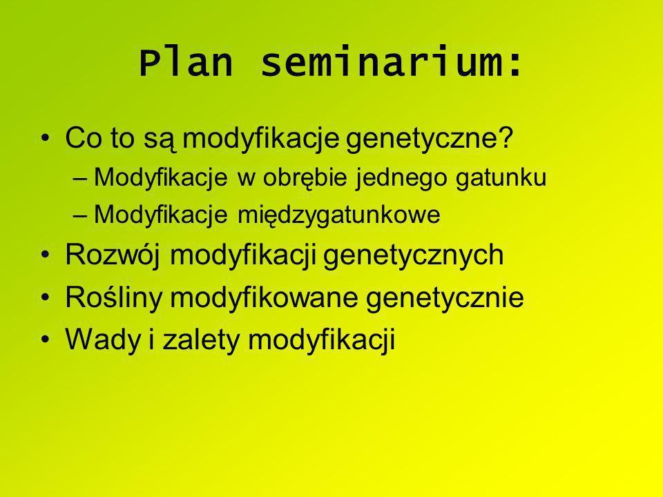Plan seminarium: Co to są modyfikacje genetyczne