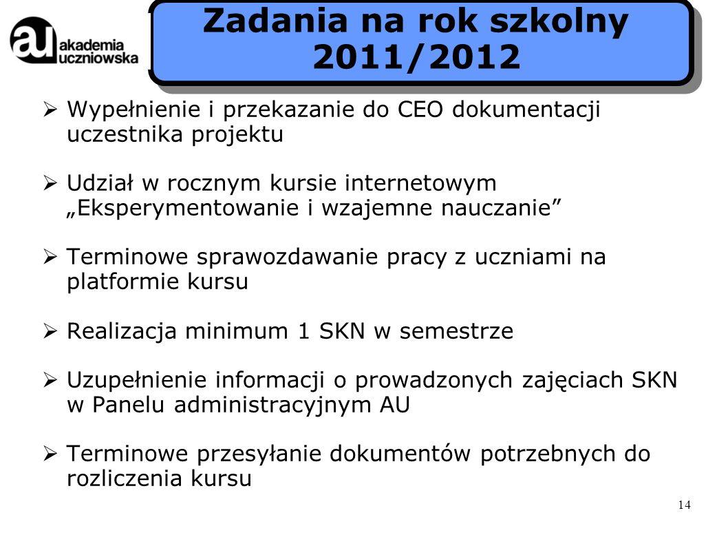Zadania na rok szkolny 2011/2012