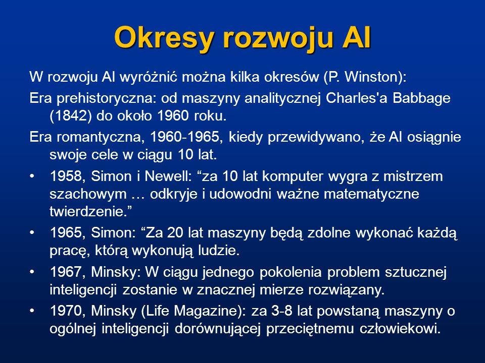 Okresy rozwoju AIW rozwoju AI wyróżnić można kilka okresów (P. Winston):