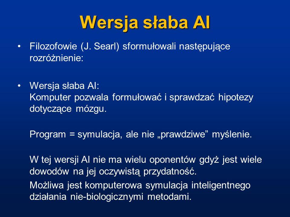 Wersja słaba AIFilozofowie (J. Searl) sformułowali następujące rozróżnienie: