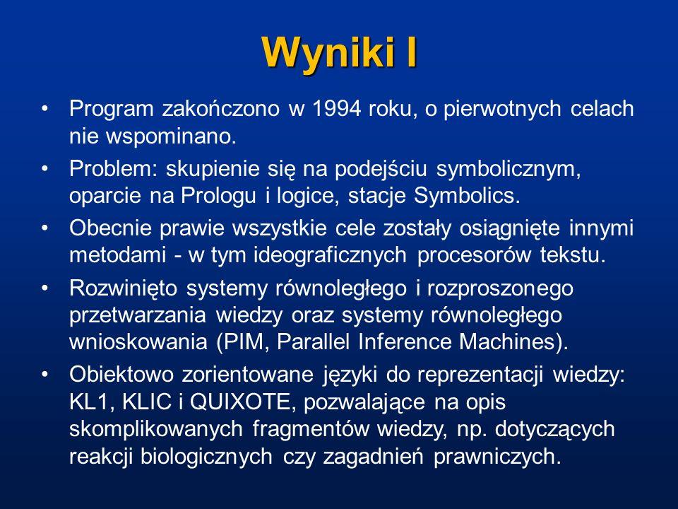 Wyniki I Program zakończono w 1994 roku, o pierwotnych celach nie wspominano.