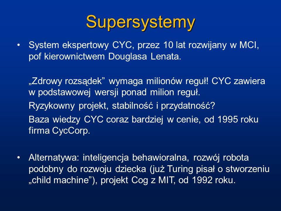 Supersystemy System ekspertowy CYC, przez 10 lat rozwijany w MCI, pof kierownictwem Douglasa Lenata.