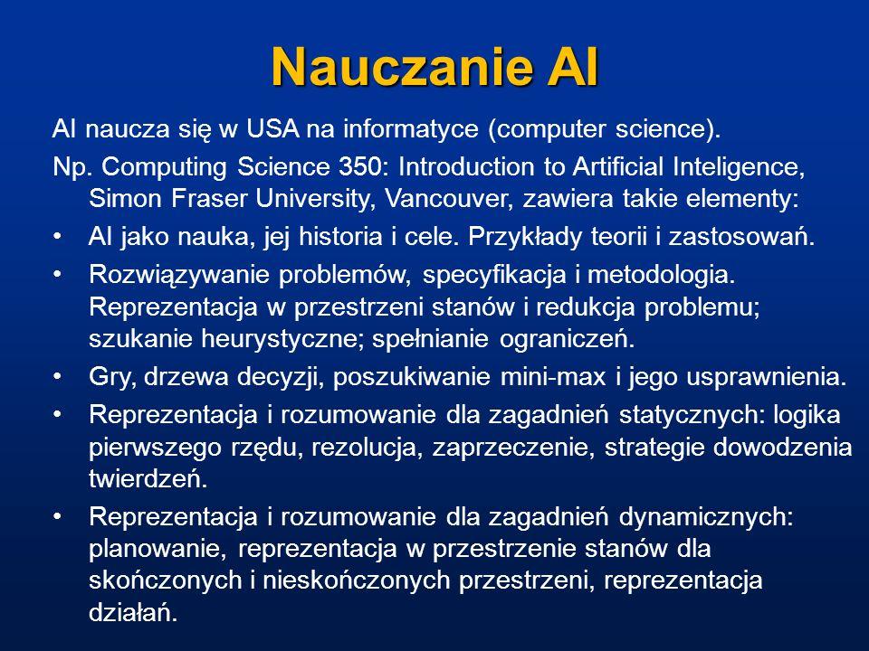 Nauczanie AI AI naucza się w USA na informatyce (computer science).