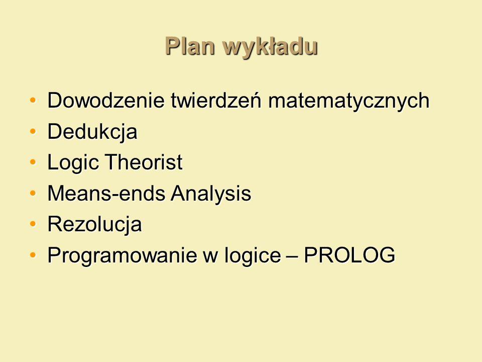 Plan wykładu Dowodzenie twierdzeń matematycznych Dedukcja