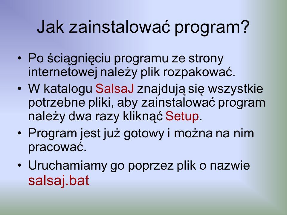 Jak zainstalować program