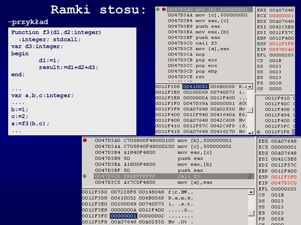 Ramki stosu: -przykład Function f3(d1,d2:integer) :integer; stdcall;
