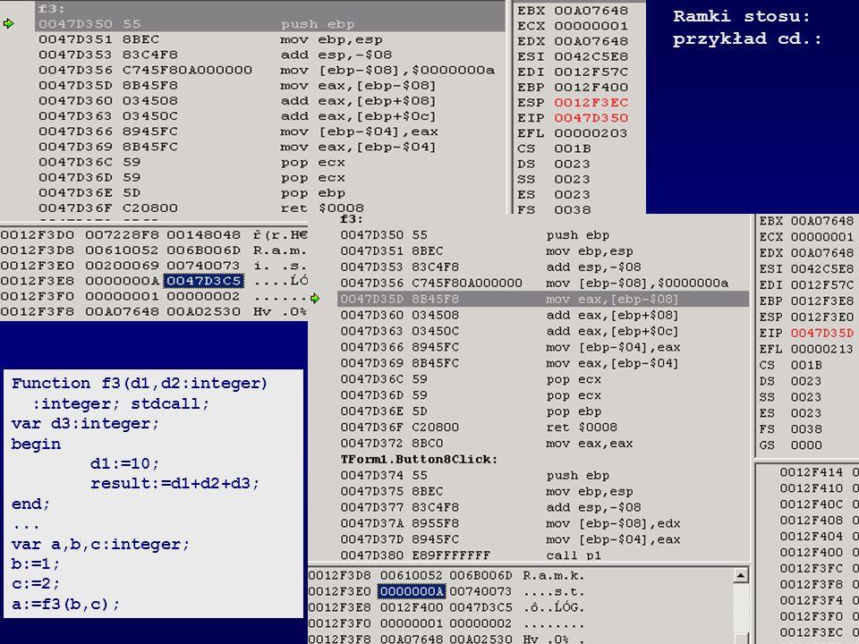 Ramki stosu: przykład cd.: Function f3(d1,d2:integer)