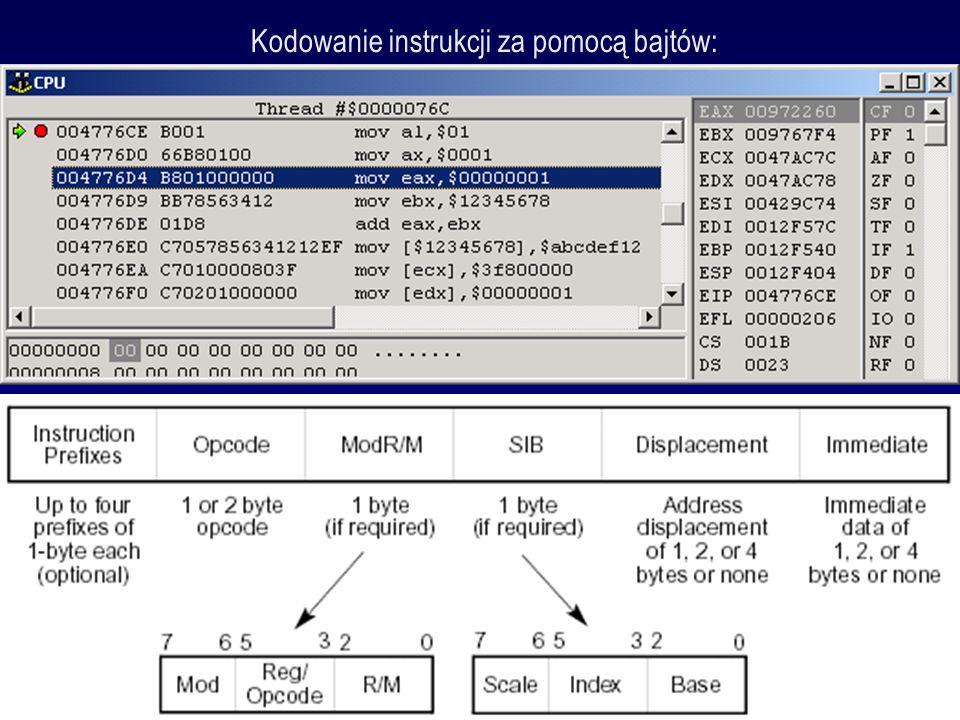Kodowanie instrukcji za pomocą bajtów:
