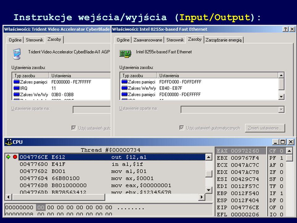 Instrukcje wejścia/wyjścia (Input/Output):