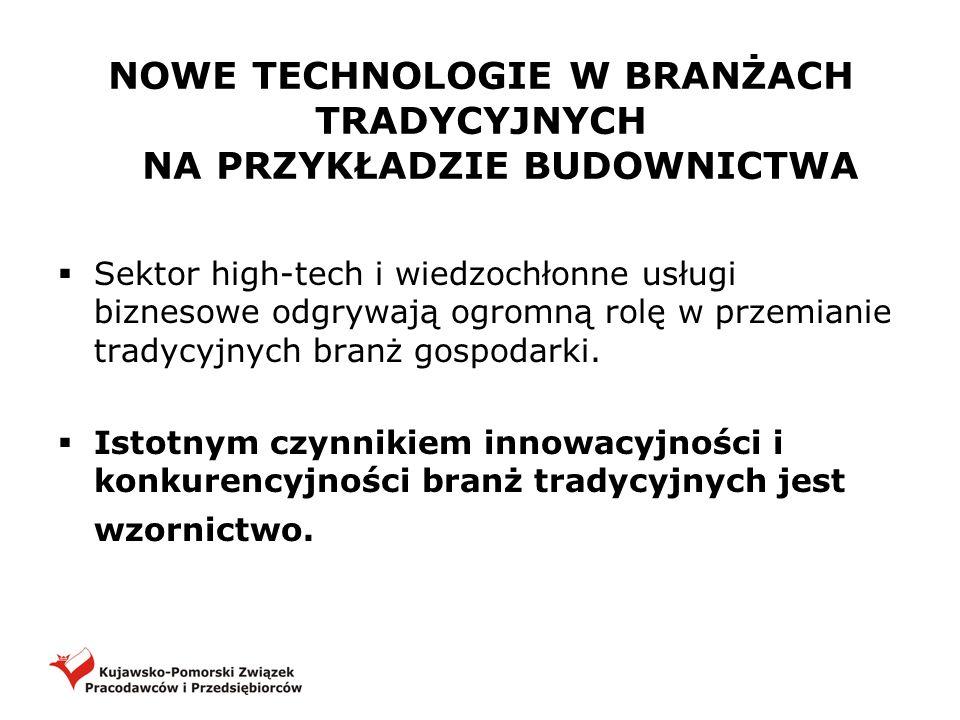 NOWE TECHNOLOGIE W BRANŻACH TRADYCYJNYCH NA PRZYKŁADZIE BUDOWNICTWA