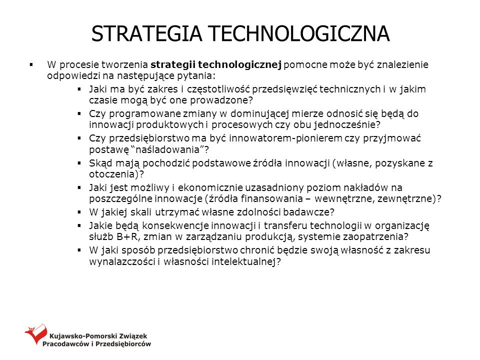 STRATEGIA TECHNOLOGICZNA