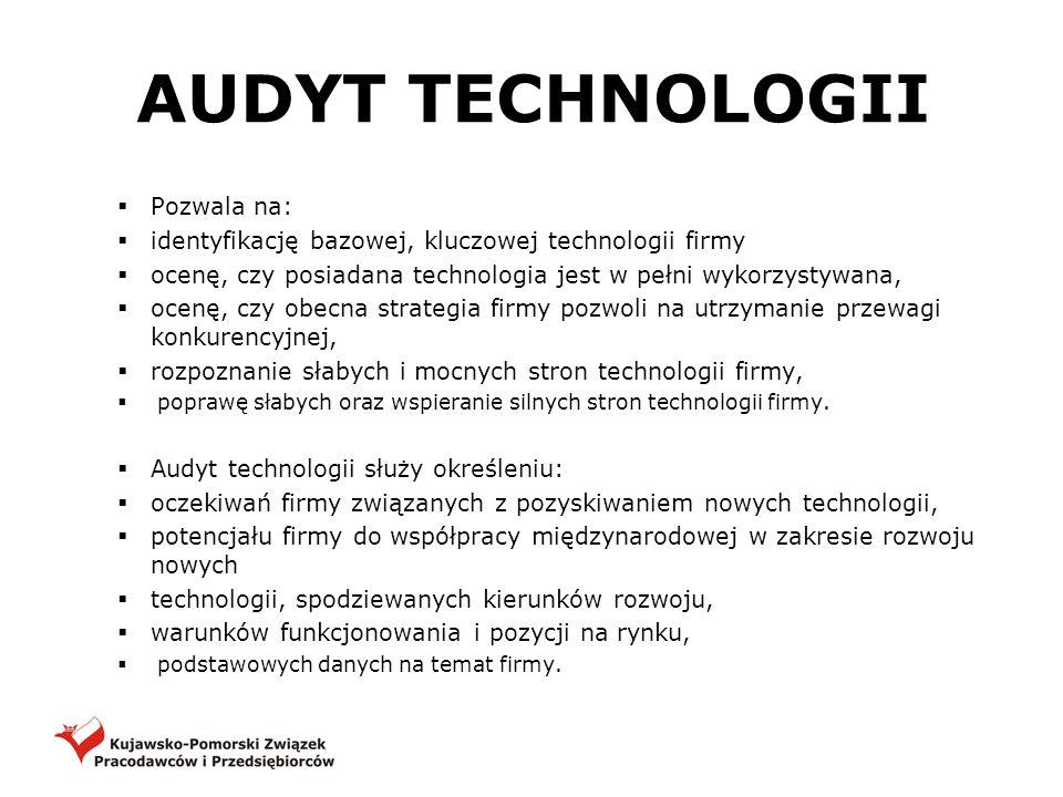 AUDYT TECHNOLOGII Pozwala na: