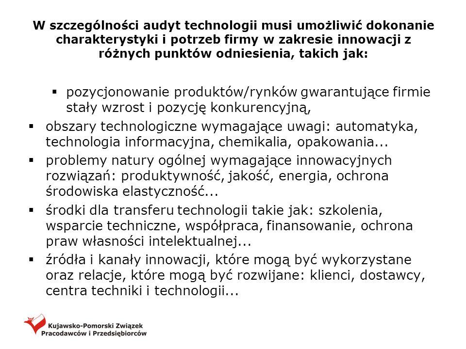 W szczególności audyt technologii musi umożliwić dokonanie charakterystyki i potrzeb firmy w zakresie innowacji z różnych punktów odniesienia, takich jak:
