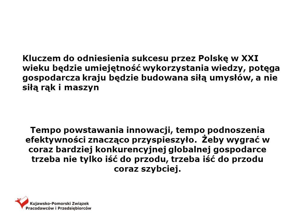 Kluczem do odniesienia sukcesu przez Polskę w XXI wieku będzie umiejętność wykorzystania wiedzy, potęga gospodarcza kraju będzie budowana siłą umysłów, a nie siłą rąk i maszyn