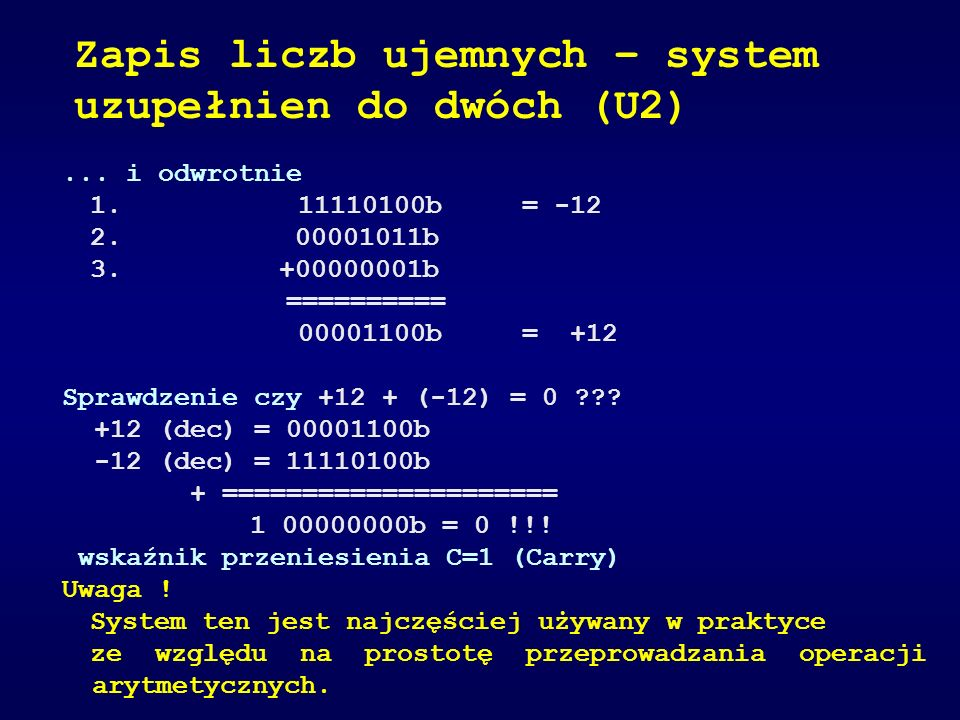 Zapis liczb ujemnych – system uzupełnien do dwóch (U2)