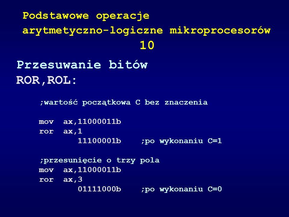 10 Przesuwanie bitów ROR,ROL: Podstawowe operacje