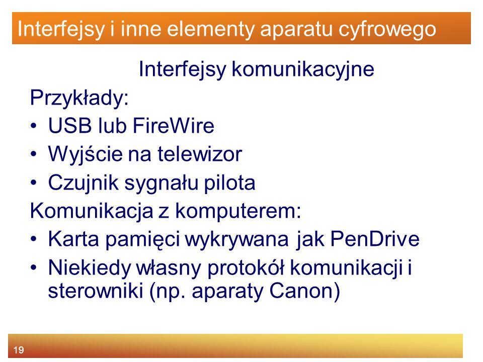 Interfejsy i inne elementy aparatu cyfrowego