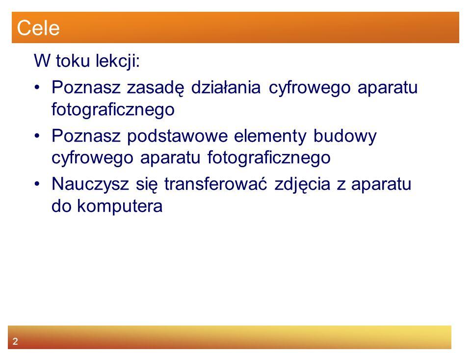 Cele W toku lekcji: Poznasz zasadę działania cyfrowego aparatu fotograficznego.