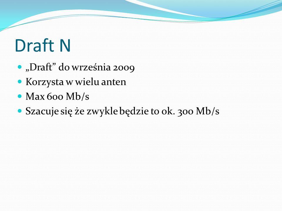 """Draft N """"Draft do września 2009 Korzysta w wielu anten Max 600 Mb/s"""