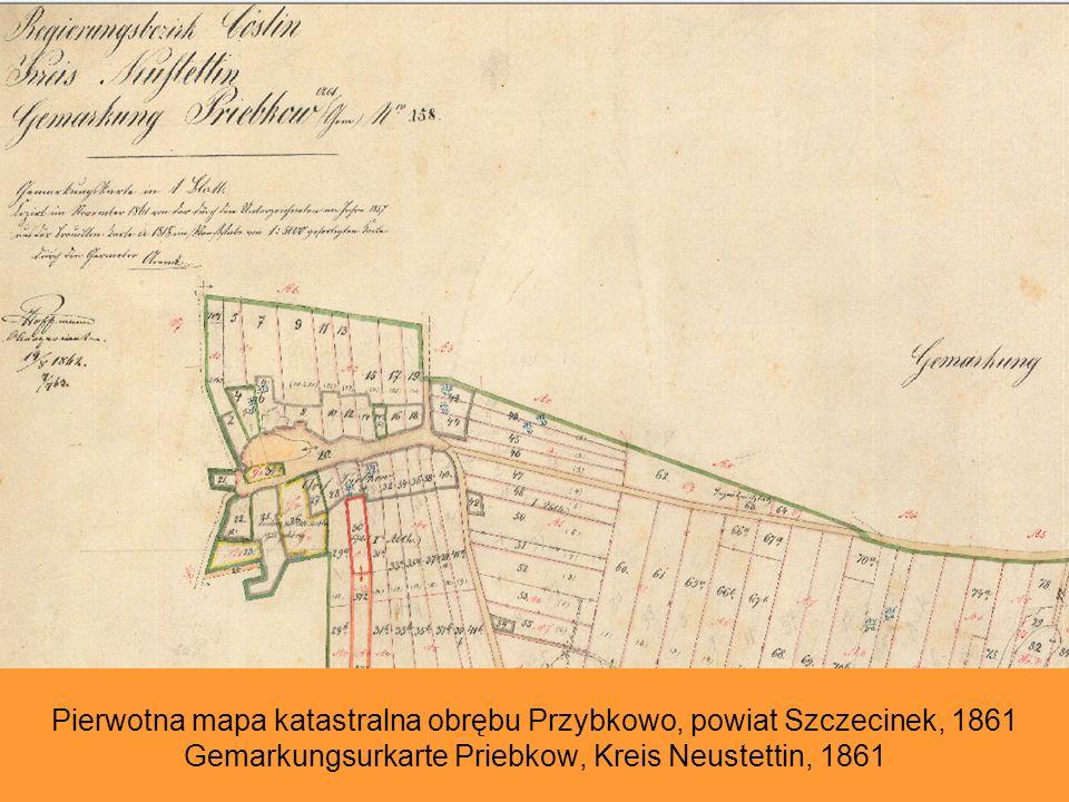 Pierwotna mapa katastralna obrębu Przybkowo, powiat Szczecinek, 1861 Gemarkungsurkarte Priebkow, Kreis Neustettin, 1861