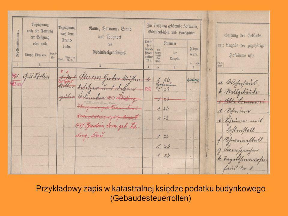 Przykładowy zapis w katastralnej księdze podatku budynkowego (Gebaudesteuerrollen)