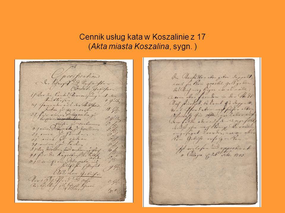 Cennik usług kata w Koszalinie z 17 (Akta miasta Koszalina, sygn. )