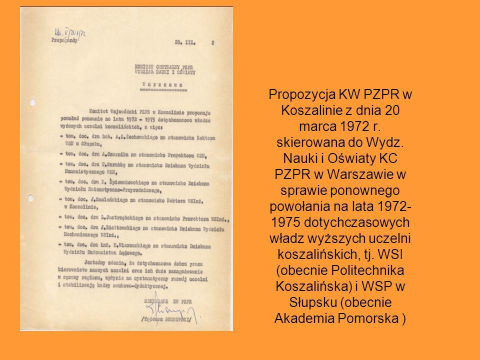Propozycja KW PZPR w Koszalinie z dnia 20 marca 1972 r