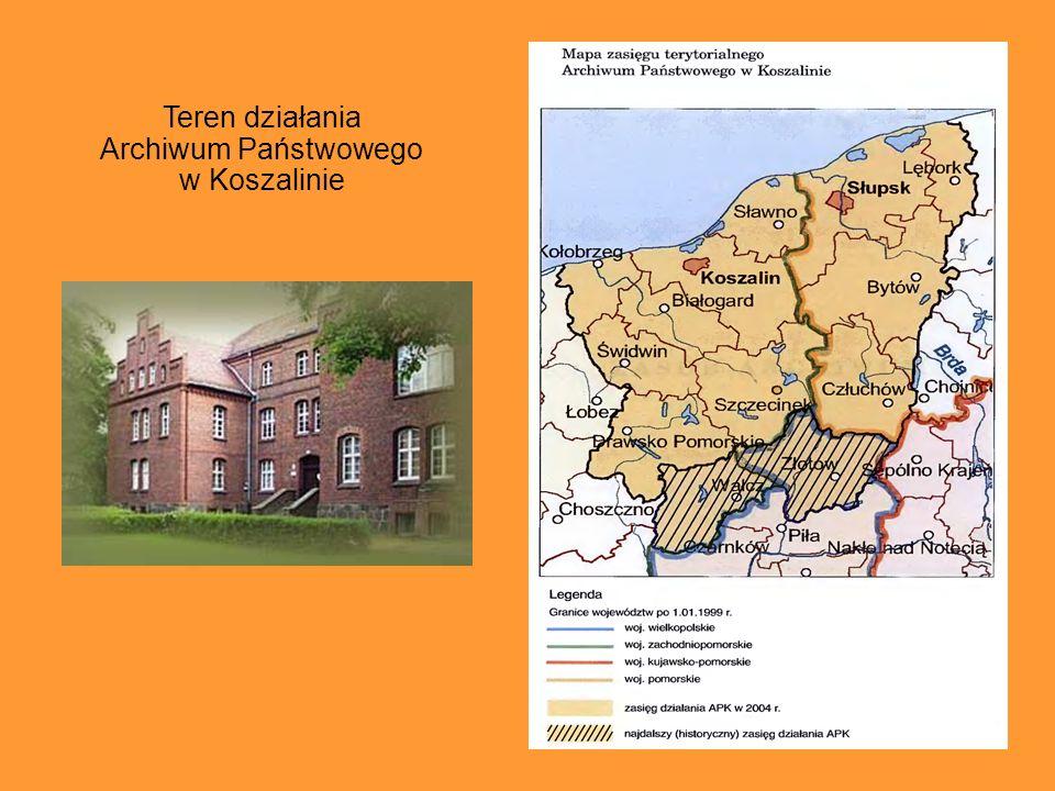 Teren działania Archiwum Państwowego w Koszalinie