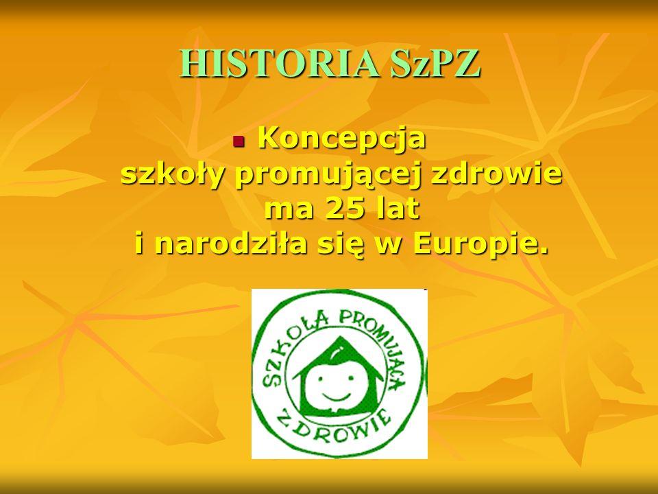 HISTORIA SzPZ Koncepcja szkoły promującej zdrowie ma 25 lat i narodziła się w Europie.
