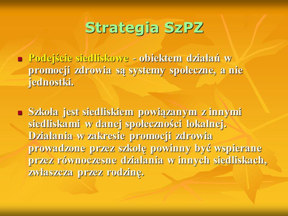 Strategia SzPZ Podejście siedliskowe - obiektem działań w promocji zdrowia są systemy społeczne, a nie jednostki.