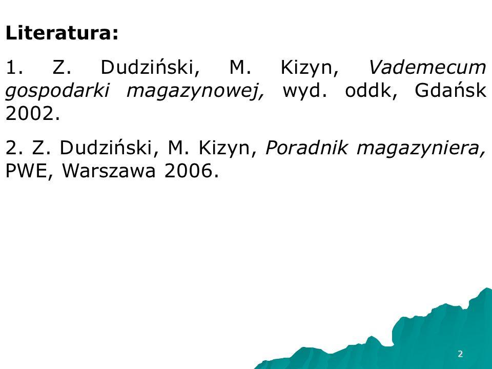 Literatura: 1. Z. Dudziński, M. Kizyn, Vademecum gospodarki magazynowej, wyd. oddk, Gdańsk 2002.