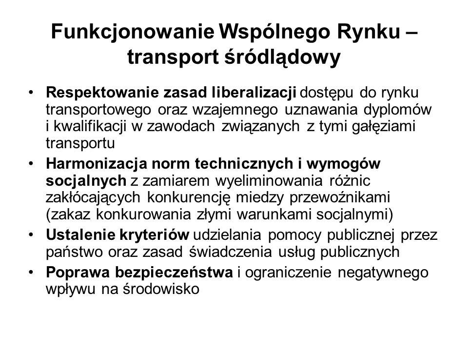 Funkcjonowanie Wspólnego Rynku – transport śródlądowy