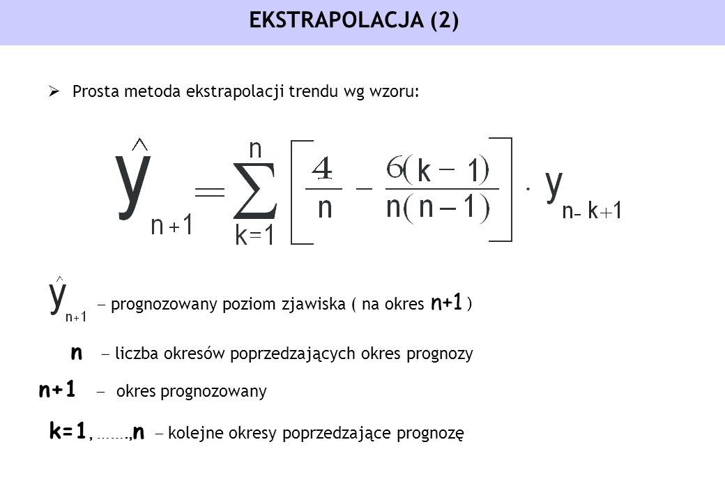 k=1, …….,n - kolejne okresy poprzedzające prognozę