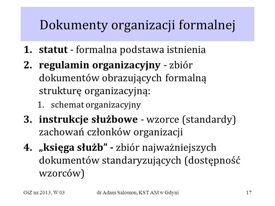 Dokumenty organizacji formalnej