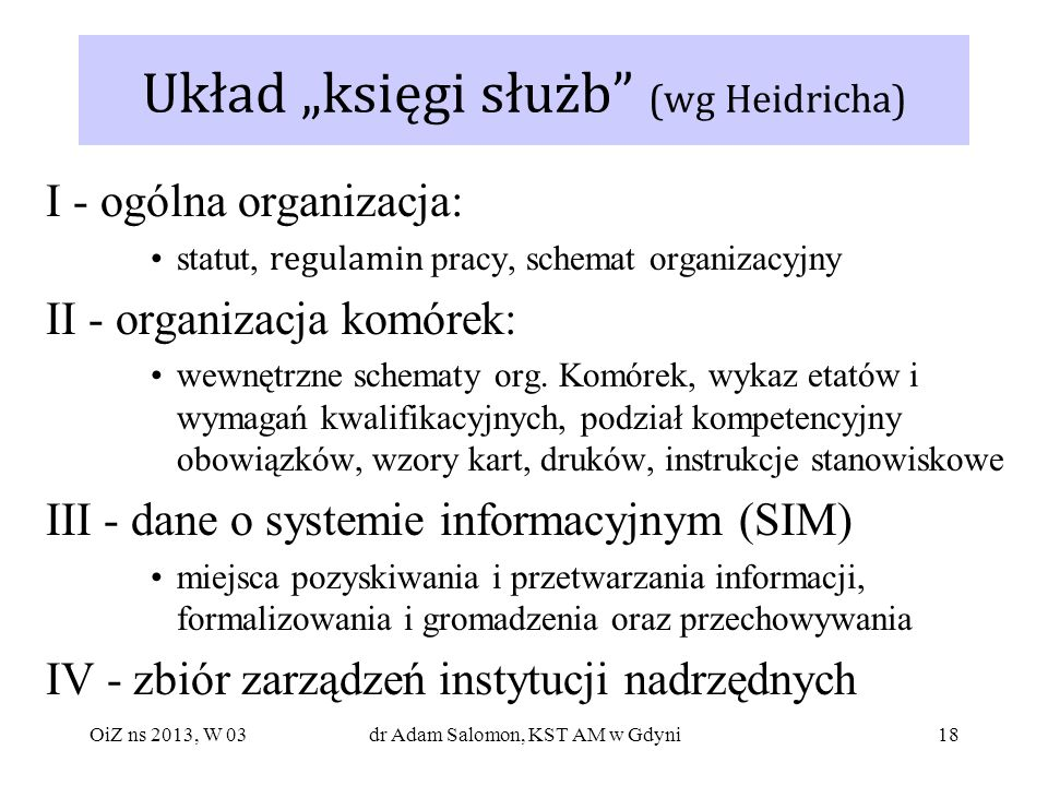 """Układ """"księgi służb (wg Heidricha)"""