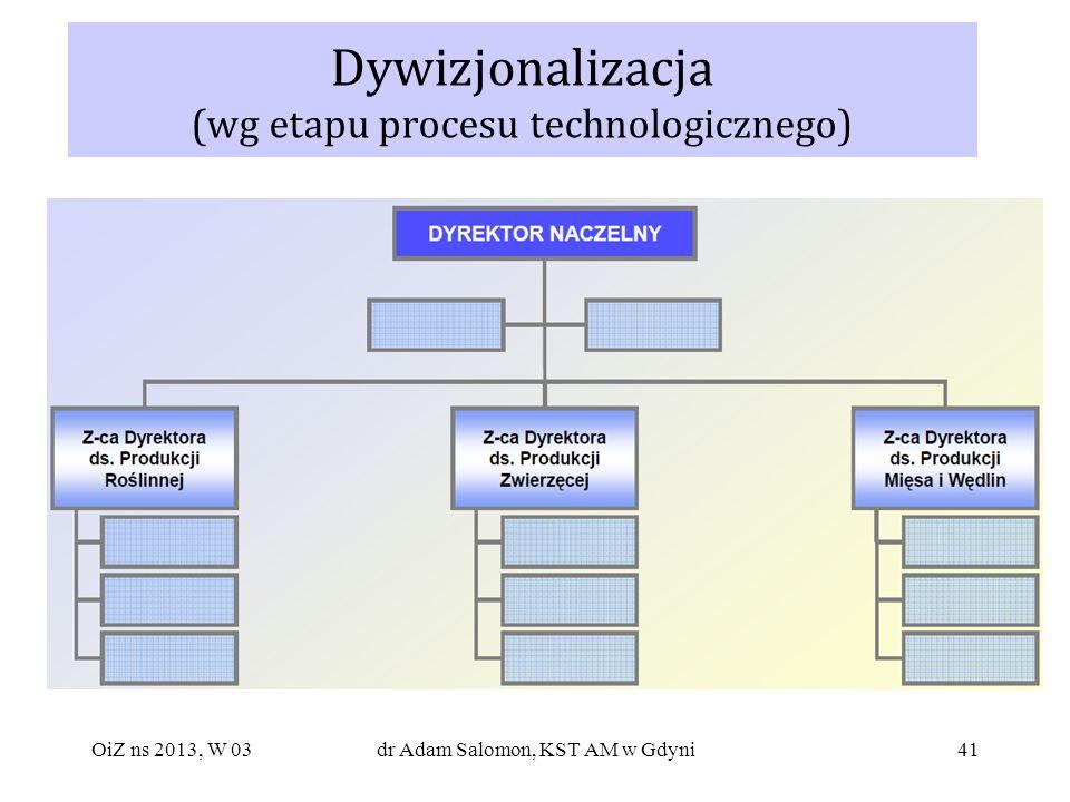 Dywizjonalizacja (wg etapu procesu technologicznego)