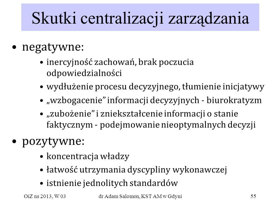 Skutki centralizacji zarządzania