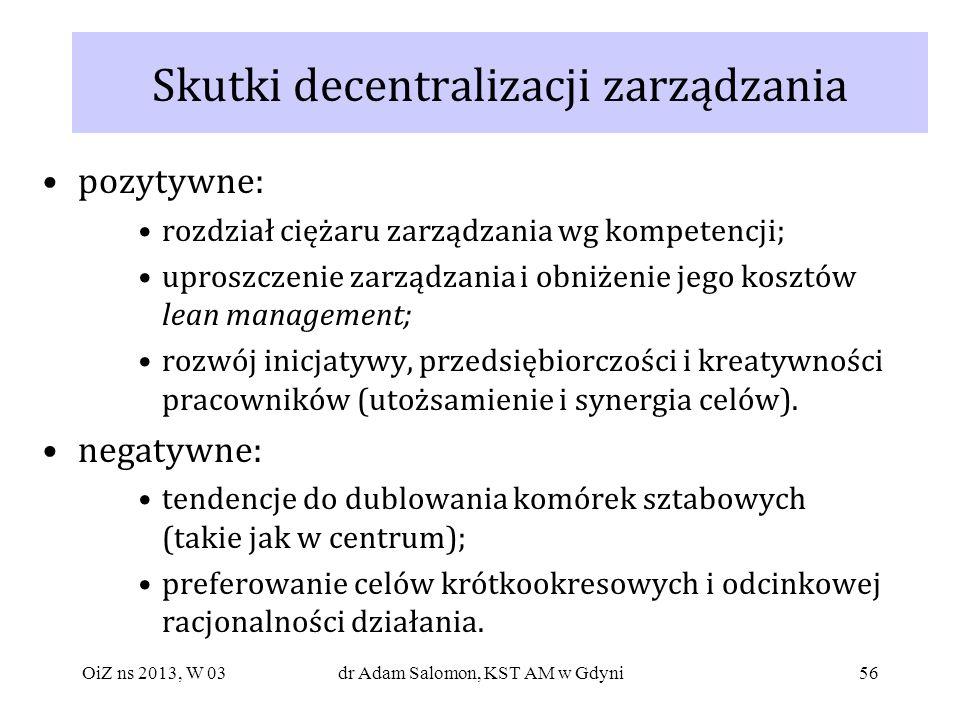 Skutki decentralizacji zarządzania