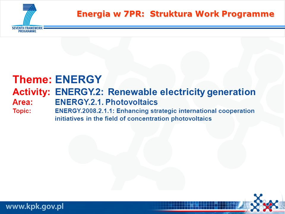 Theme: ENERGY Activity: ENERGY.2: Renewable electricity generation
