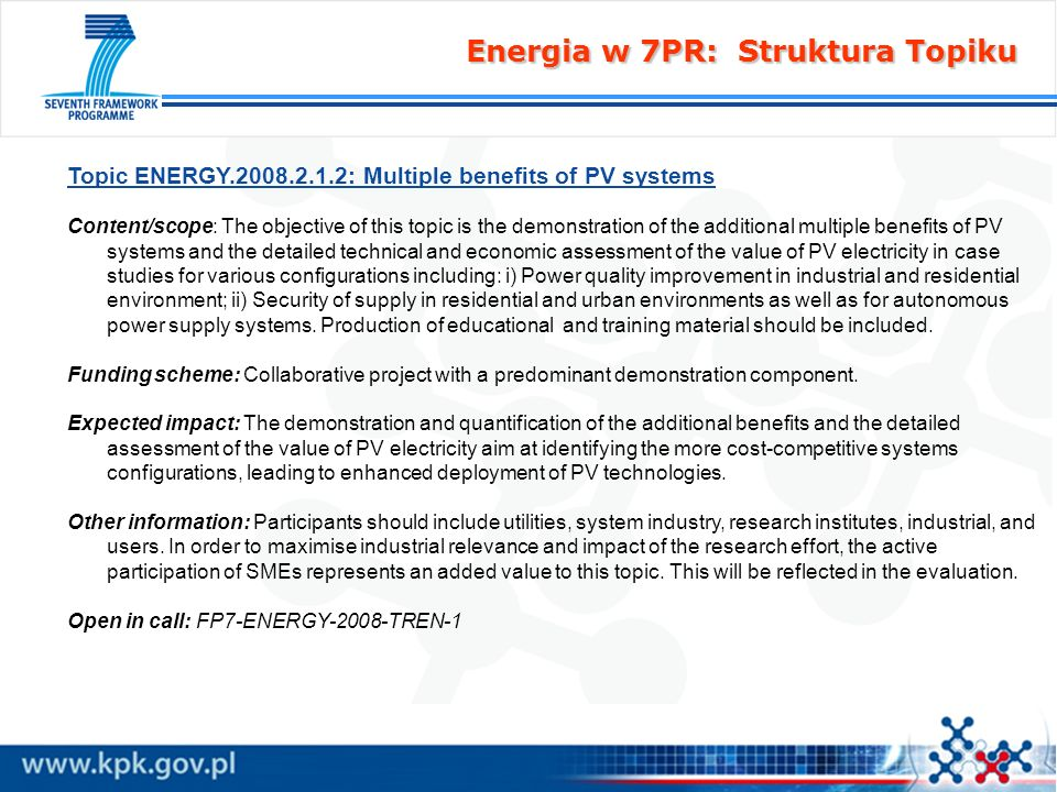 Energia w 7PR: Struktura Topiku