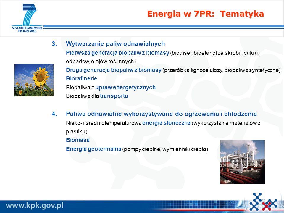 Energia w 7PR: Tematyka Wytwarzanie paliw odnawialnych