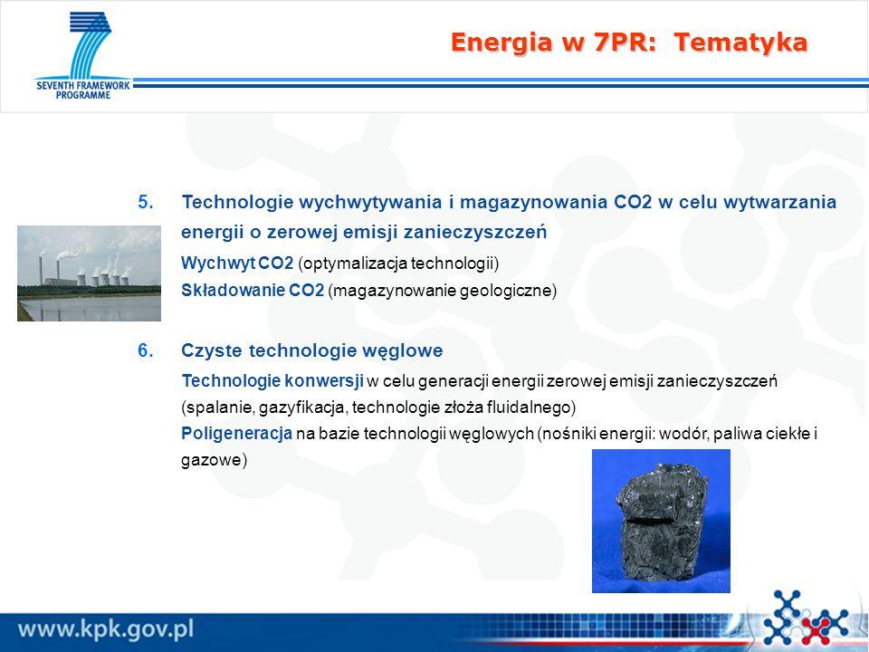 Energia w 7PR: Tematyka Technologie wychwytywania i magazynowania CO2 w celu wytwarzania energii o zerowej emisji zanieczyszczeń.
