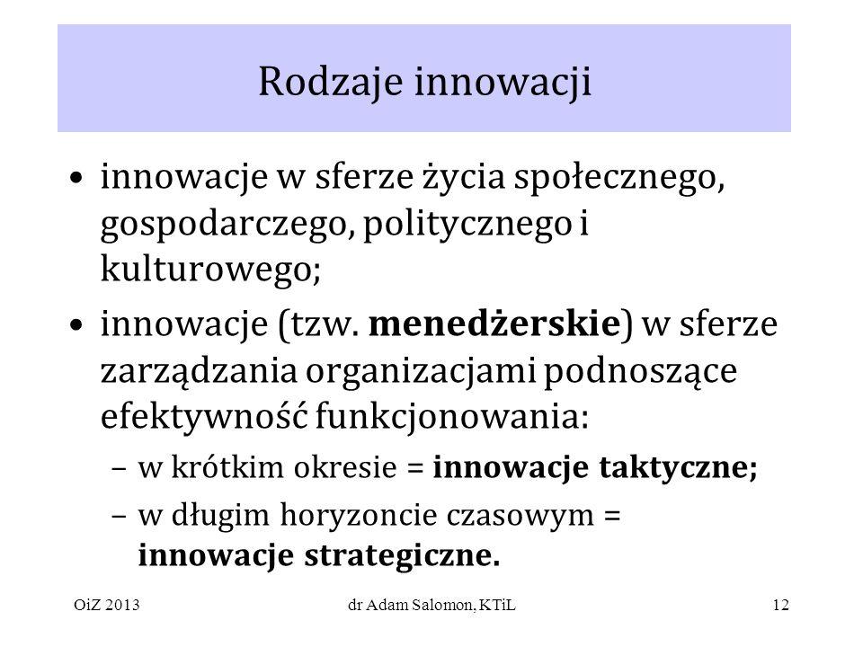 Rodzaje innowacji innowacje w sferze życia społecznego, gospodarczego, politycznego i kulturowego;