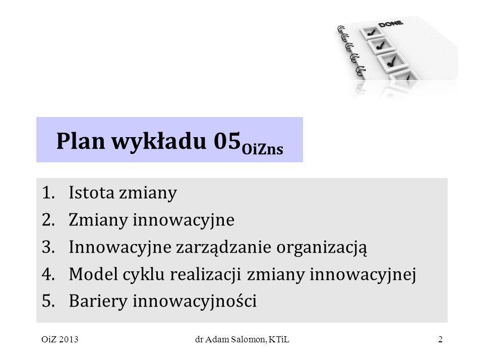 Plan wykładu 05OiZns Istota zmiany Zmiany innowacyjne