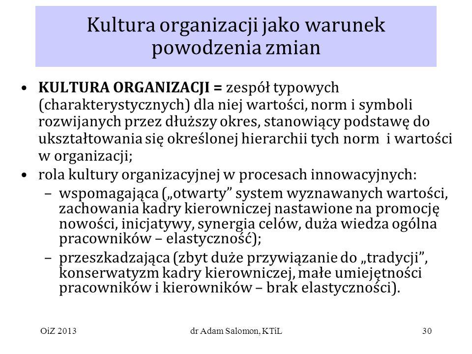 Kultura organizacji jako warunek powodzenia zmian